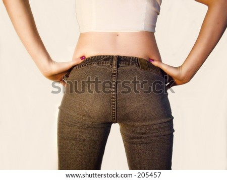 Back view of Teen wearing jeans - stock photo
