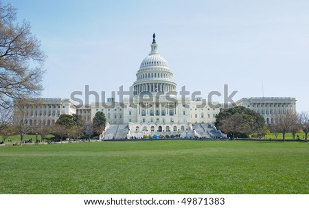 Back view of the Capitol Building for The United States of America