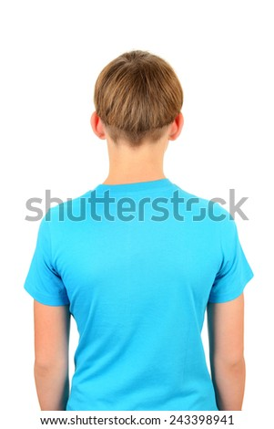Back View of the Teenager isolated on the white background - stock photo