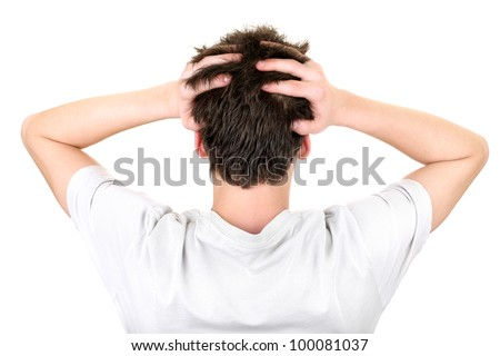 back view of the young man head. isolated on the white background