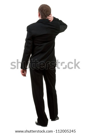 Back view of thinking business man. thoughtful adult businessman in black suit . Rear view people collection.  backside view of person.  Isolated over white background.