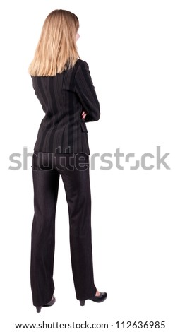 back view of thoughtful business woman contemplating. Young girl in suit.  Rear view people collection.  backside view of person.  Isolated over white background.