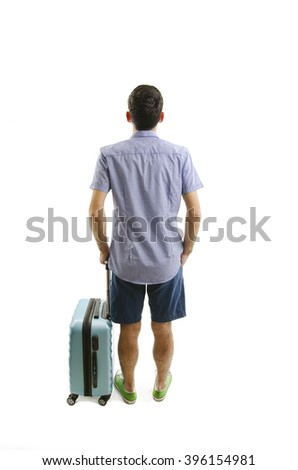 Back view of traveling man with suitcase looking up. Rear view people collection. Backside view of person. Isolated on white background. - stock photo
