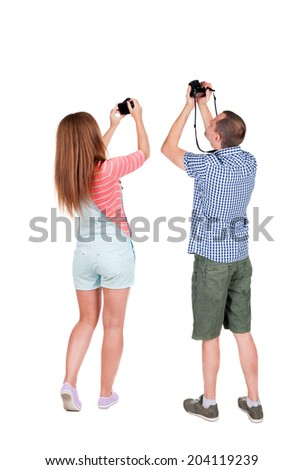 Back view of  two people photographed attractions. Rear view team people collection.  backside view of person.  Isolated over white background.