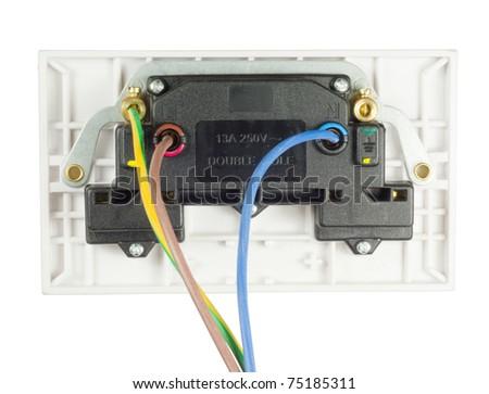 back view of uk double socket - stock photo