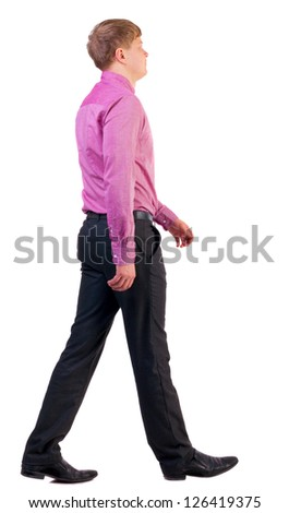 back view of walking  business man. going young guy in pink shirt. Isolated over white background. Rear view people collection.  backside view of person. - stock photo