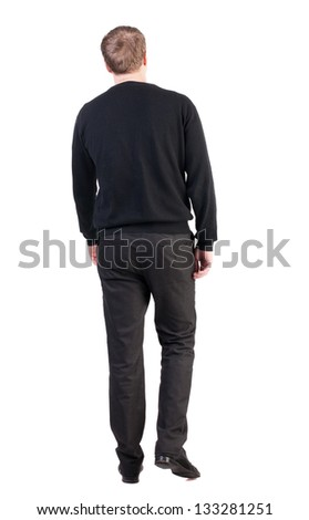 back view of walking  business man. going young guy in red shirt.  Isolated over white background. Rear view people collection.  backside view of person. broad-office worker is on us - stock photo