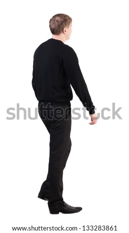 back view of walking business man. going young guy in red shirt. Isolated over white background. Rear view people collection. backside view of person. cheerful office worker proudly marching towards - stock photo
