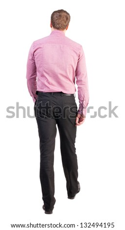 back view of walking  business man.   Isolated over white background. blond office worker purposefully goes to the goal. Rear view people collection.  backside view of person. - stock photo