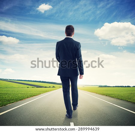 back view of walking businessman on the road over beautiful landscape - stock photo