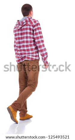 Back view of walking  teenager in plaid shirt with hood.  going young guy in jeans and  jacket. Rear view people collection.  backside view of person.  Isolated over white background. - stock photo