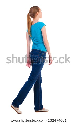 back view of walking  woman beautiful blonde girl in motion. relaxed gait pretty woman goes somewhere.  backside view of person.  Rear view people collection. Isolated over white background. - stock photo