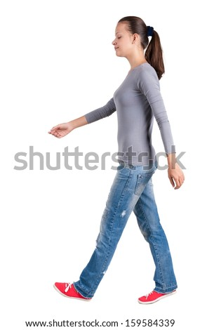 back view of walking  woman. beautiful brunette girl in motion.  backside view of person.  Rear view people collection. Isolated over white background.