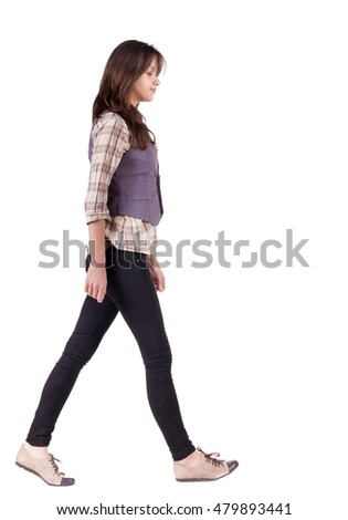 back view of walking woman . going gir in motion. Rear view people collection.  backside view of person. Isolated over white background.