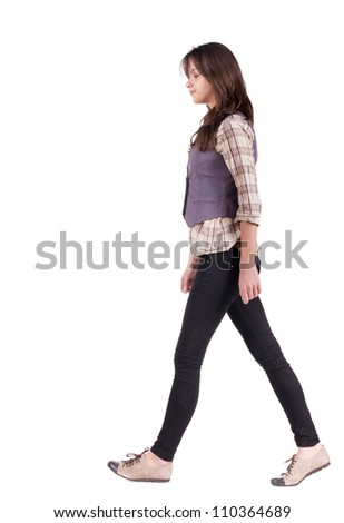 back view of walking woman . going girl in motion. Rear view people collection.  backside view of person. Isolated over white background.