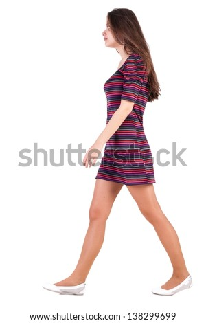 back view of walking  woman in dress. beautiful brunette girl in motion. backside view of person. Rear view people collection. Isolated over white background. Sad brunette goes past us - stock photo