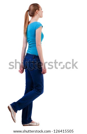back view of walking  woman  in  gray jeans. beautiful brunette girl in motion.  backside view of person.  Rear view people collection. Isolated over white background. - stock photo