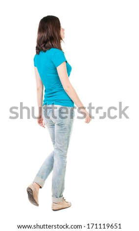 back view of walking  woman in jeans . beautiful brunette girl in motion.  backside view of person.  Rear view people collection. Isolated over white background.