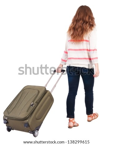 back view of walking  woman  with suitcase. beautiful redhead girl in motion.  backside view of person.  Rear view people collection. Isolated over white background. traveling teen girl