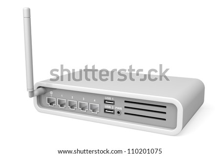 Back view of wireless router on white background