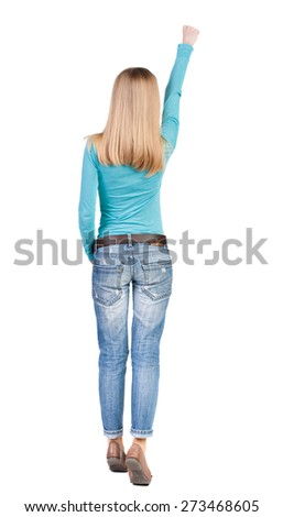 Back view of  woman.  Raised his fist up in victory sign.  Rear view people collection.  backside view of person.  Isolated over white background. - stock photo