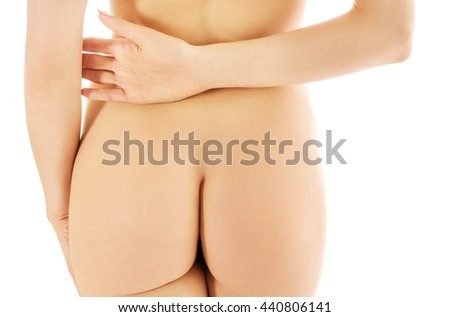 Back view of woman slim buttocks - stock photo