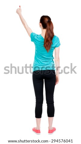 Back view of  woman thumbs up. Rear view people collection. backside view of person. Isolated over white background. Sport girl shows a thumbs-up. - stock photo