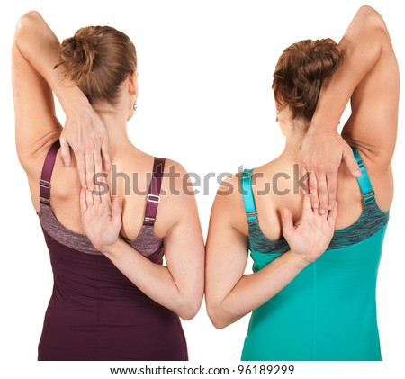 Back view of women stretching their arms over white background
