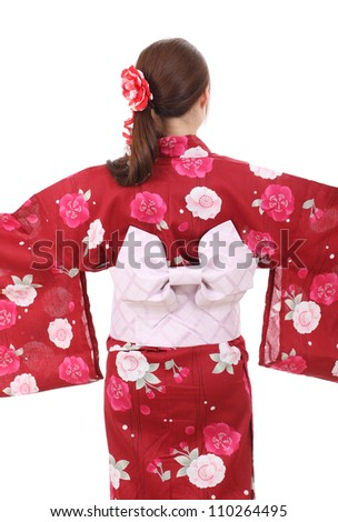 Back view of young asian woman with traditional clothing kimono - stock photo