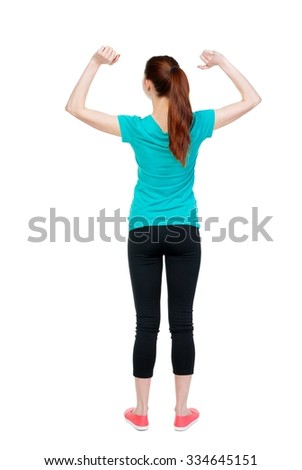 back view of young beautiful  woman. girl  watching. Rear view people collection.  backside view of person.  Isolated over white background. Sports girl rejoices victory