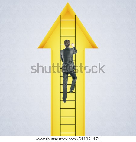 Back view of young businessman climbing ladder inside abstract yellow arrow. Success and growth concept. 3D Rendering