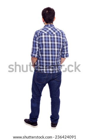 Back view of young casual man, isolated on white background - stock photo