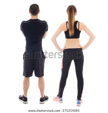 back view of young man and woman in sportswear isolated on white background - stock photo