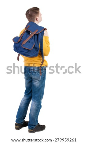 Back view of  young men with backpack. Rear view people collection. backside view of person.  Isolated over white background. guy in the yellow sweater standing sideways thrown behind a backpack. - stock photo