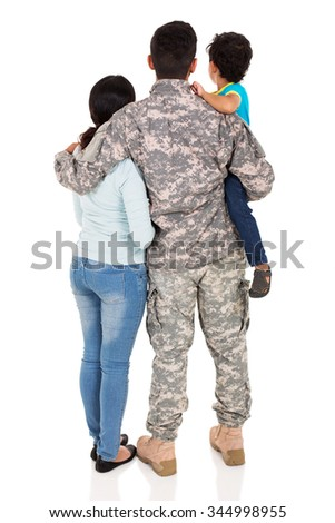 back view of young military family isolated on white background - stock photo