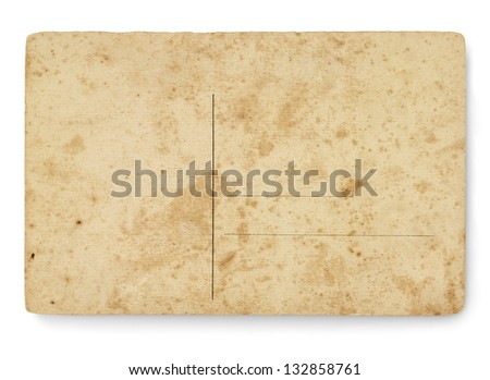 Back view postcard with ancient texture. Isolated on white background