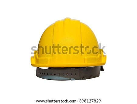 back view Safety Engineer Helmet ,Isolated with White background - stock photo