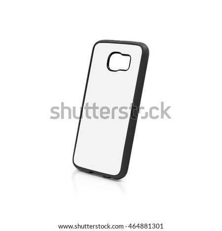 Back view smartphone case on white background with clipping path. Blank mobile mock up for design.