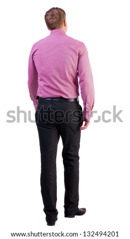 back view walking  business man. going young guy . Isolated over white background. guy comes to the workplace. Rear view people collection.  backside view of person. - stock photo