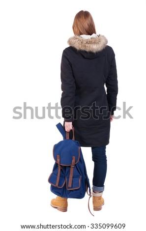 Back view woman in winter jacket with a backpack  looking up.   Standing young girl in parka. Rear view people collection.  backside view of person.  Isolated over white background. - stock photo