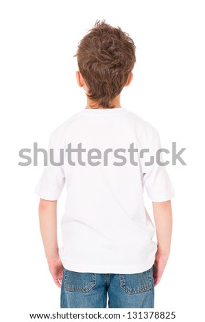 Back white T-shirt on a boy, isolated on white background - stock photo
