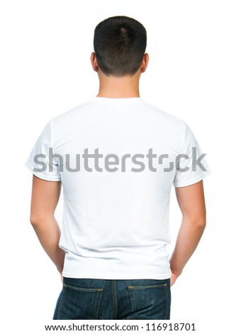 Back white t-shirt on a young man isolated - stock photo