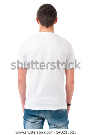 Back white T-shirt on a young man, isolated on white background - stock photo