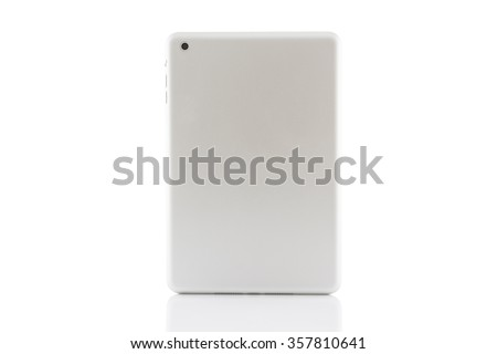 Back white tablet computer isolated on over white background - stock photo