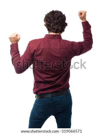 back young man dancing - stock photo