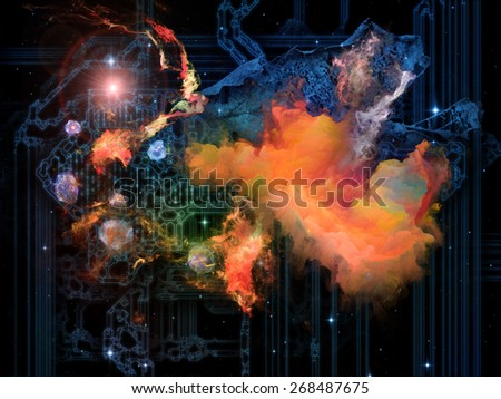 Backbone of Reality series. Arrangements of symbols, fractal elements and lights on the subject of metaphysics, science, design and education. - stock photo