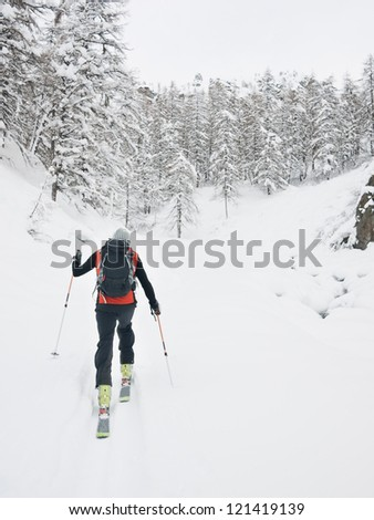 Backcountry skier walks in a snowy mountain valley. Gressoney, Val d'Aosta, Italy, Europe. - stock photo