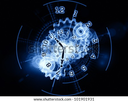 Backdrop composed of clock hands, gears, lights and numbers and suitable for use on time sensitive issues, deadlines, scheduling, temporal processes, digital technologies, past, present and future
