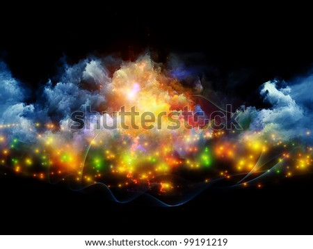 Backdrop composed of clouds of fractal foam and abstract lights and suitable for use on art, spirituality, painting, music , visual effects and creative technologies - stock photo