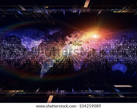 Backdrop composed of lights, numbers, grids and satellite imagery (courtesy of NASA) and suitable for use in the projects on science, global computing and communication technologies